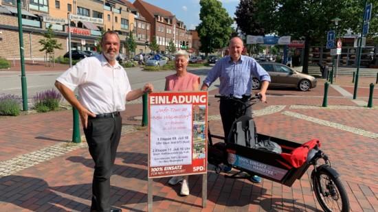 Gruppenfoto mit Thomas Grambow, Petra Andersen und Tobias Handtke