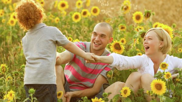 Familie im Sonnenblumenfeld
